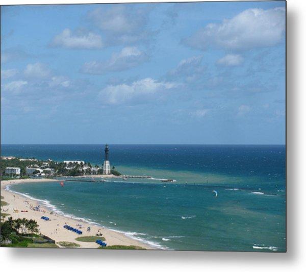 Lighthouse And Kiteboarding Metal Print