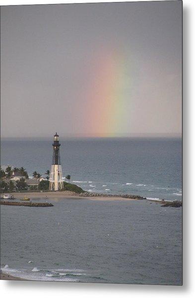Lighthouse And Rainbow Metal Print