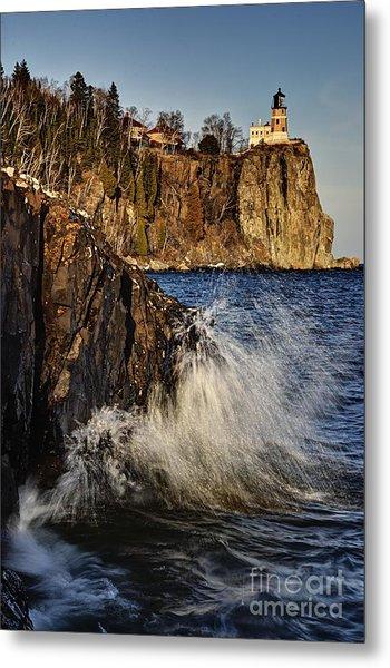 Lighthouse And Spray Metal Print