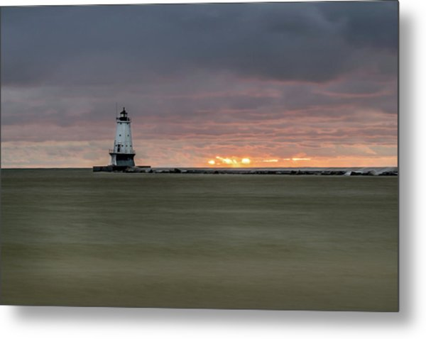Lighthouse And Sunset Metal Print