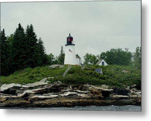 Lighthouse At Boothbay Harbor Metal Print by Lois Lepisto