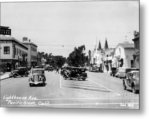 Lighthouse Avenue Downtown Pacific Grove, Calif. 1935  Metal Print