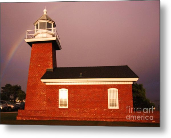Lighthouse In A Rainbow Metal Print