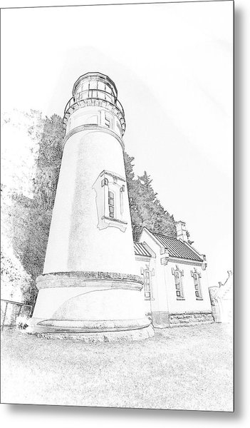 Lighthouse In Oregon Metal Print