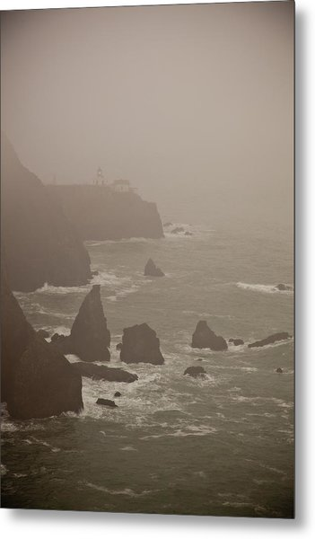 Lighthouse In The Fog Metal Print by Patrick  Flynn