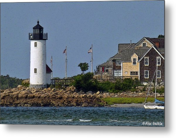 Lighthouse In The Ipswich Bay Metal Print
