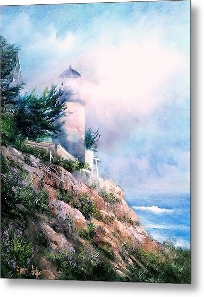 Lighthouse In The Mist Metal Print by Sally Seago