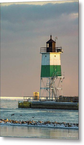 Lighthouse In The Sunset Metal Print