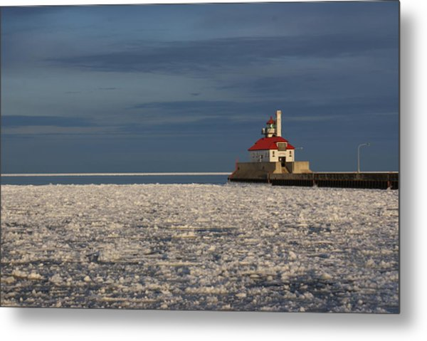 Lighthouse In Winter Metal Print