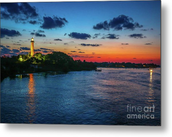 Lighthouse Light Beam Metal Print