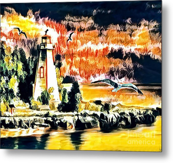 Metal Print featuring the mixed media Lighthouse by Lita Kelley