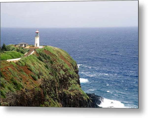 Lighthouse On A Cliff Kileaua Lighthouse Metal Print by George Oze