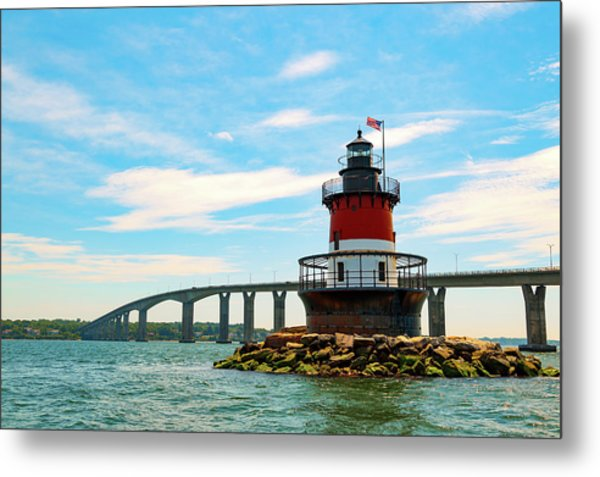 Lighthouse On A Small Island Metal Print