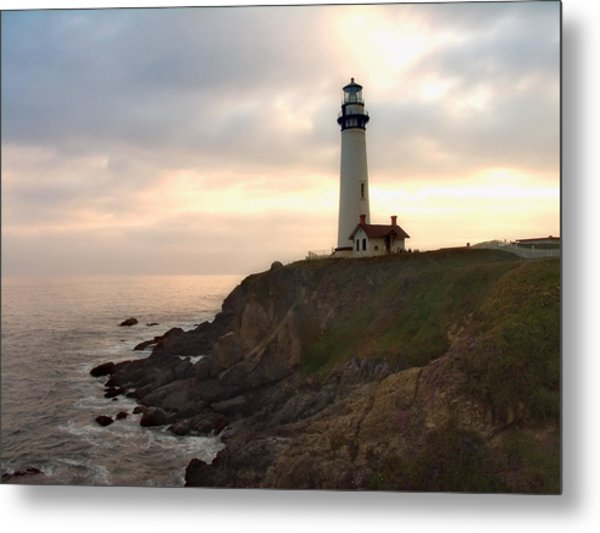 Lighthouse On The Cliff  Pigeon Point  California Metal Print by George Oze