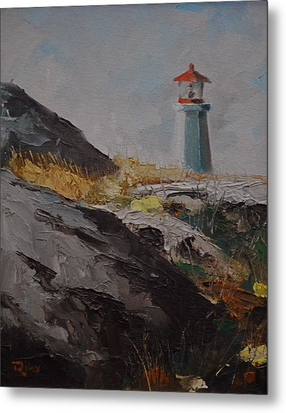 Lighthouse Peggys Cove Ns Metal Print by Chris  Riley