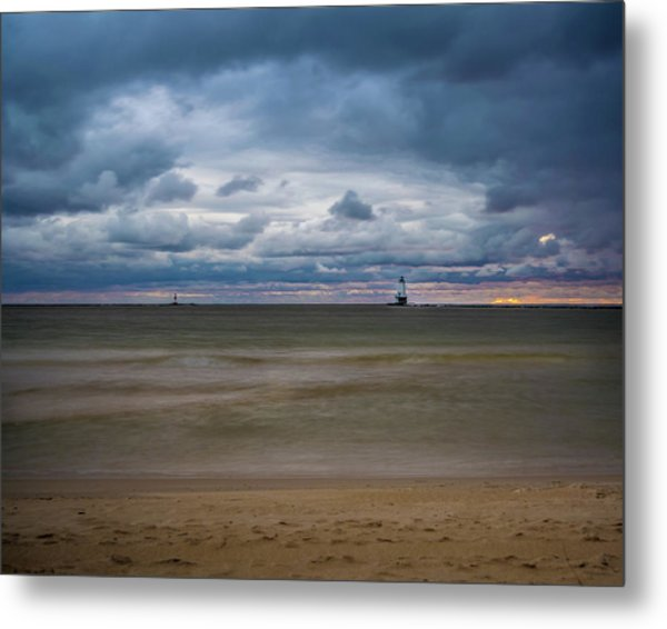 Lighthouse Under Brewing Clouds Metal Print