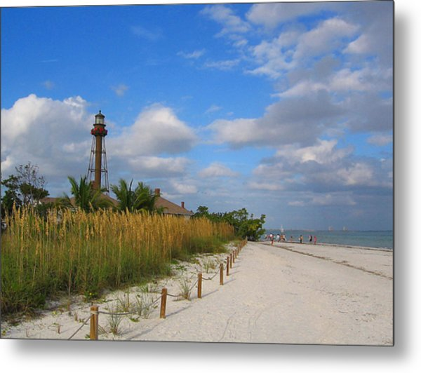 Lighthouse Wth Red Bows Metal Print