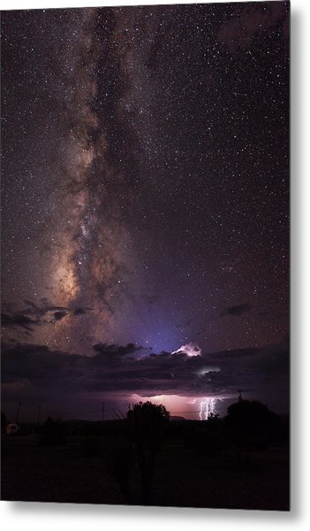 Lightning And Milky Way Metal Print