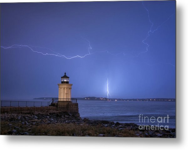 Lightning And The Lighthouse Metal Print