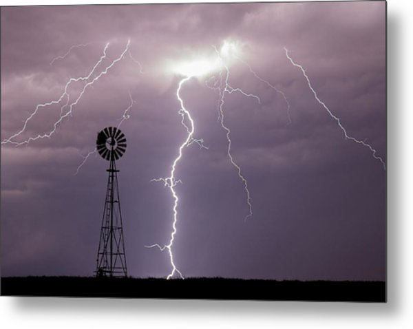Lightning And Windmill -02 Metal Print