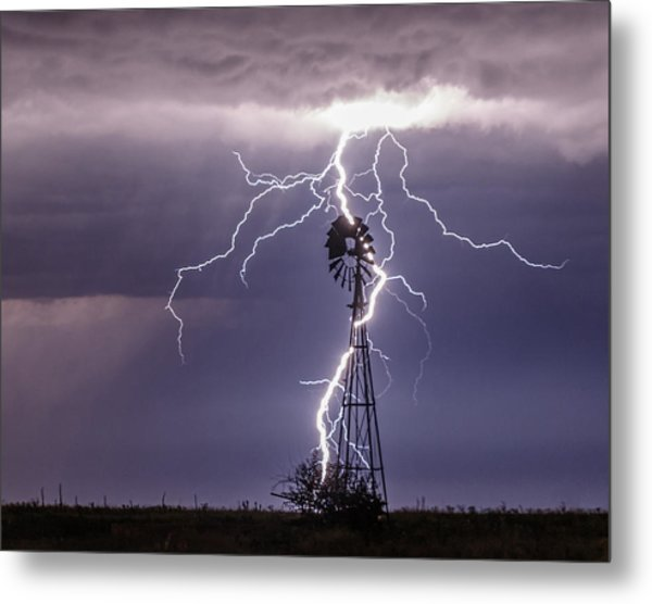 Lightning And Windmill Metal Print