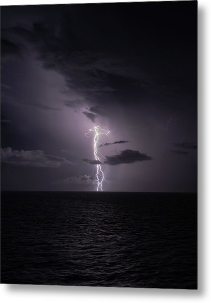Metal Print featuring the photograph Lightning At Sea I by William Dickman