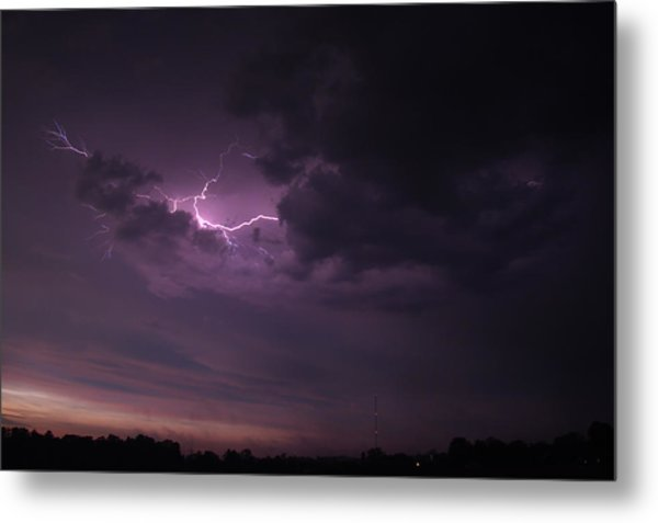 Metal Print featuring the photograph Lightning At Sunset by Mark Dodd