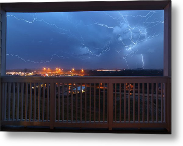 Lightning From The Balcony Metal Print