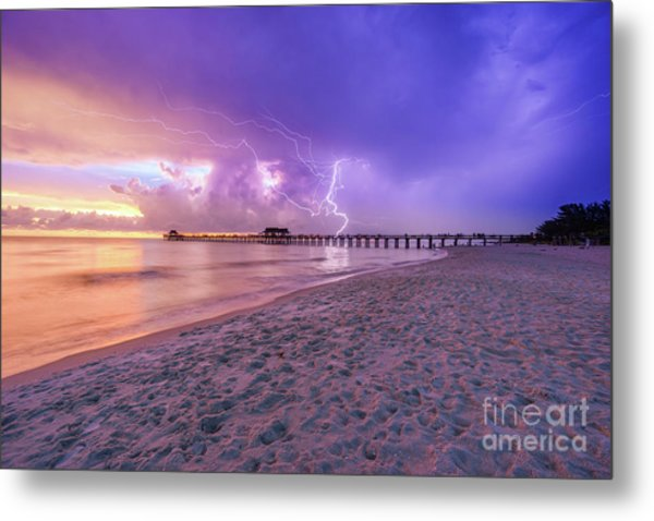 Lightning Naples Pier Metal Print