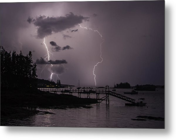 Lightning Over Boothbay Harbor Metal Print