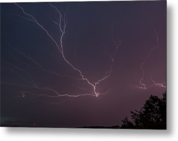 Lightning Over Lake Lanier Metal Print