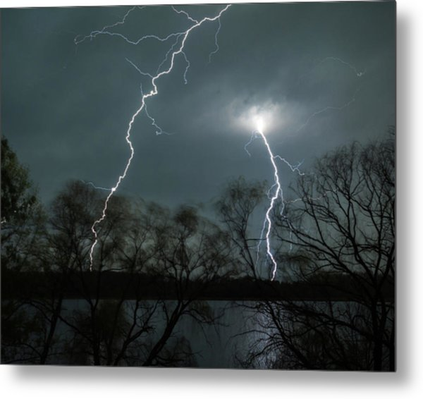 Lightning Over Little Sugarloaf Metal Print