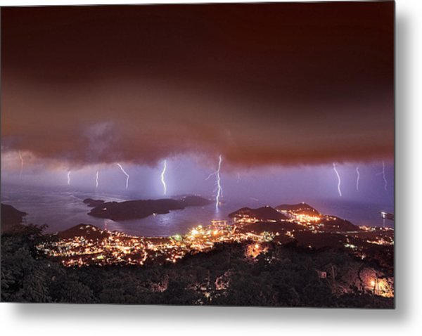 Lightning Over Water Island Metal Print