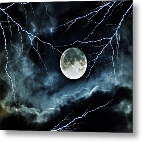 Lightning Sky At Full Moon Metal Print