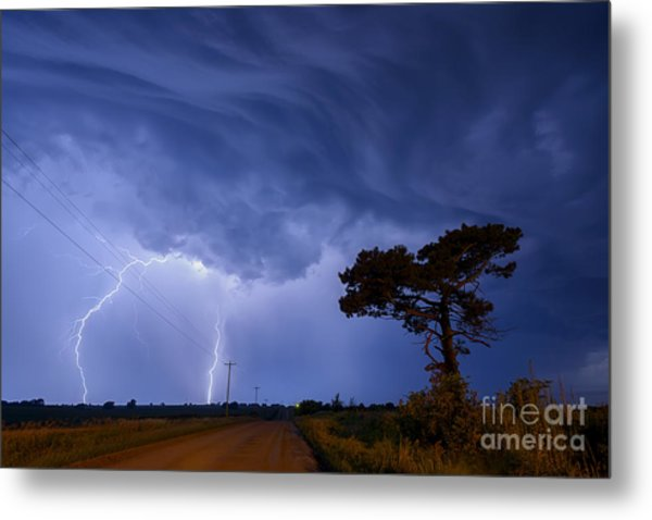 Lightning Storm On A Lonely Country Road Metal Print