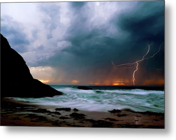 Lightning Strike Off Dana Point California Metal Print