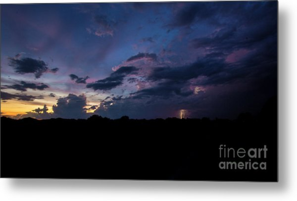 Lightning Sunset Metal Print