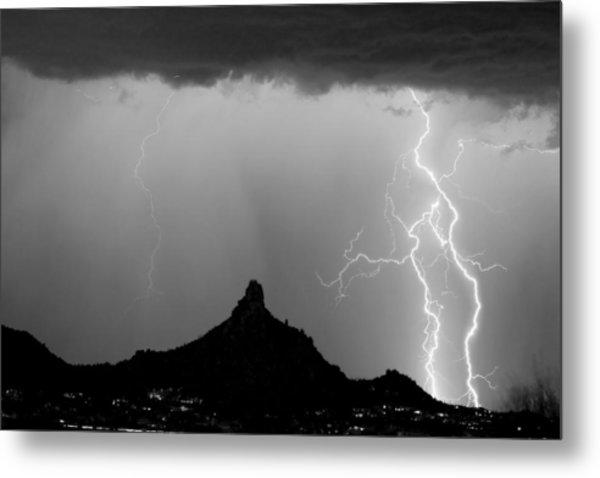 Lightning Thunderstorm At Pinnacle Peak Bw Metal Print