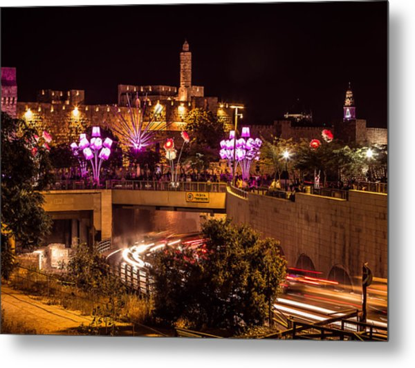 Lights In Jerusalem Metal Print