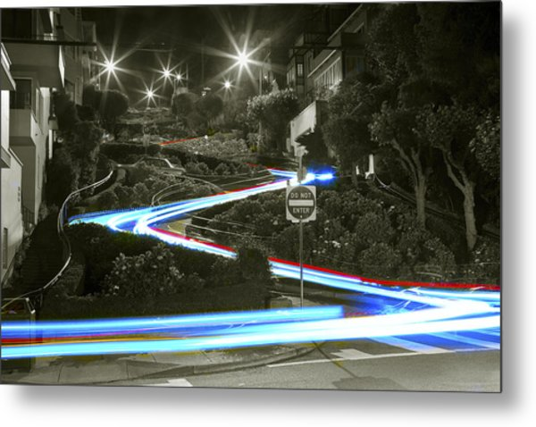 Lights On Lombard Black And White Metal Print
