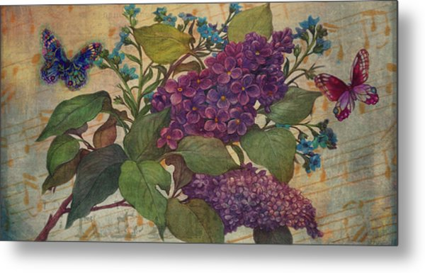 Lilac Dreams Illustrated Butterfly Metal Print