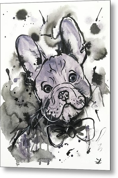 Lilac Frenchie Metal Print