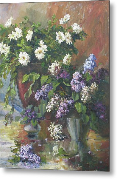 Lilacs And Asters Metal Print