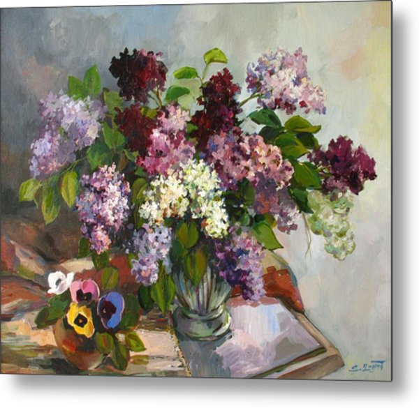 Lilacs And Pansies Metal Print