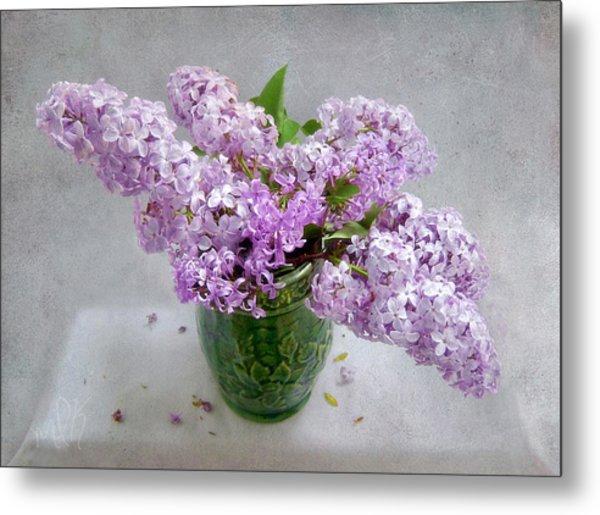 Lilacs In A Green Tankard Still Life Metal Print