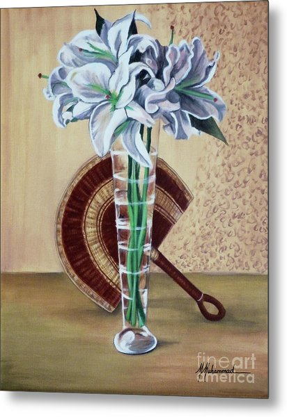 Lilies And Fan Metal Print by Marcella Muhammad