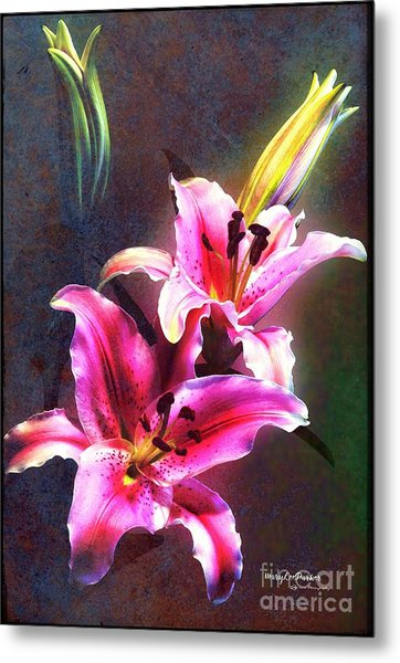 Lilies At Night Metal Print