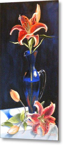 Lilies In Cobalt Metal Print by Susan A Becker