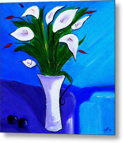 Lilies On My Table Metal Print
