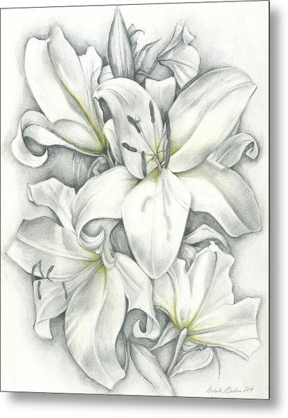 Lilies Pencil Metal Print